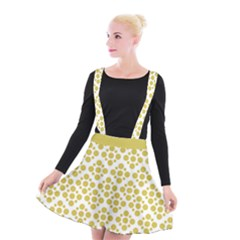 Floral Dot Series   Ceylon Yellow And White  Suspender Skater Skirt by TimelessFashion