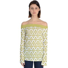 Floral Dot Series   Ceylon Yellow And White  Off Shoulder Long Sleeve Top