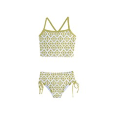 Floral Dot Series - Ceylon Yellow And White  Girls  Tankini Swimsuit by TimelessFashion