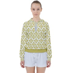 Floral Dot Series   Ceylon Yellow And White  Women s Tie Up Sweat by TimelessFashion