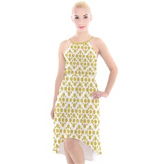 Floral Dot Series   Ceylon Yellow And White  High Low Halter Chiffon Dress  by TimelessFashion
