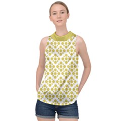 Floral Dot Series - Ceylon Yellow And White  High Neck Satin Top by TimelessFashion