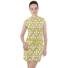 Floral Dot Series   White And Ceylon Yellow Drawstring Hooded Dress