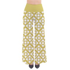 Floral Dot Series - White And Ceylon Yellow So Vintage Palazzo Pants by TimelessFashion