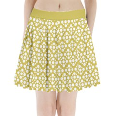 Floral Dot Series - White And Ceylon Yellow Pleated Mini Skirt by TimelessFashion