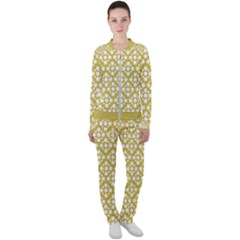Floral Dot Series   White And Ceylon Yellow Casual Jacket And Pants Set by TimelessFashion