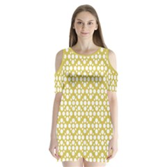 Floral Dot Series - White And Ceylon Yellow Shoulder Cutout Velvet One Piece by TimelessFashion