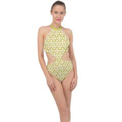 Floral Dot Series - White And Ceylon Yellow Halter Side Cut Swimsuit by TimelessFashion