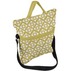 Floral Dot Series   White And Ceylon Yellow Fold Over Handle Tote Bag by TimelessFashion