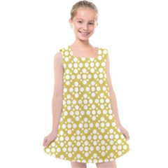 Floral Dot Series   White And Ceylon Yellow Kids  Cross Back Dress by TimelessFashion