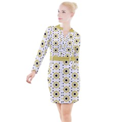 Flower Star Button Long Sleeve Dress by TimelessFashion