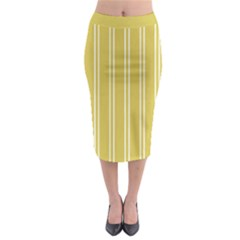 Nice Stripes In Ceylon Yellow And White Midi Pencil Skirt