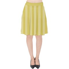 Nice Stripes In Ceylon Yellow And White Velvet High Waist Skirt by TimelessFashion