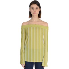 Nice Stripes In Ceylon Yellow And White Off Shoulder Long Sleeve Top by TimelessFashion