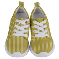 Nice Stripes In Ceylon Yellow And White Kids  Lightweight Sports Shoes