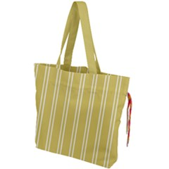 Nice Stripes In Ceylon Yellow And White Drawstring Tote Bag