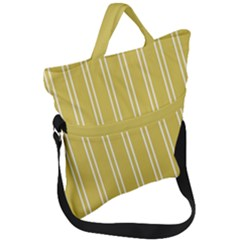 Nice Stripes In Ceylon Yellow And White Fold Over Handle Tote Bag by TimelessFashion
