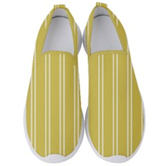 Nice Stripes In Ceylon Yellow And White Men s Slip On Sneakers by TimelessFashion