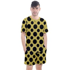 Polka Dots Large  Men s Mesh Tee And Shorts Set by TimelessFashion