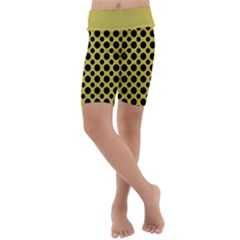 Polka Dots Medium  Kids  Lightweight Velour Cropped Yoga Leggings