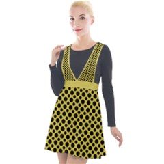 Polka Dots Small  Plunge Pinafore Velour Dress by TimelessFashion