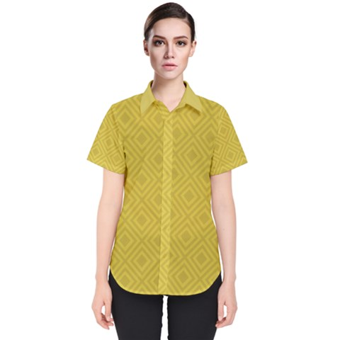 Simple Squares  Women s Short Sleeve Shirt by TimelessFashion