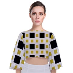 Squares On A Mission  Tie Back Butterfly Sleeve Chiffon Top by TimelessFashion