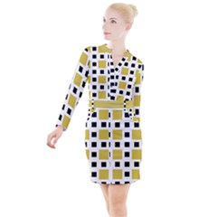 Squares On A Mission Button Long Sleeve Dress