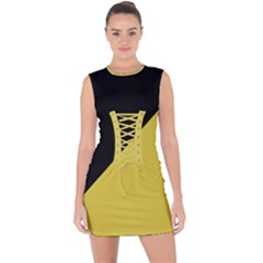 Two Triangles Lace Up Front Bodycon Dress