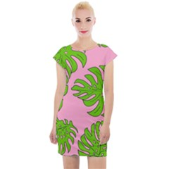 Leaves Tropical Plant Green Garden Cap Sleeve Bodycon Dress by Alisyart