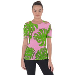 Leaves Tropical Plant Green Garden Shoulder Cut Out Short Sleeve Top