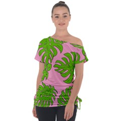Leaves Tropical Plant Green Garden Tie Up Tee by Alisyart