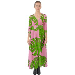 Leaves Tropical Plant Green Garden Button Up Boho Maxi Dress