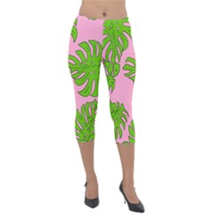 Leaves Tropical Plant Green Garden Lightweight Velour Capri Leggings  by Alisyart