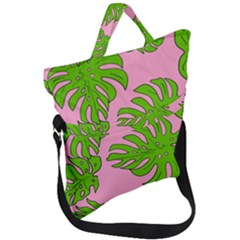 Leaves Tropical Plant Green Garden Fold Over Handle Tote Bag by Alisyart