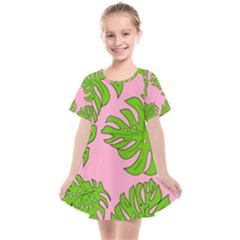 Leaves Tropical Plant Green Garden Kids  Smock Dress