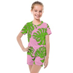 Leaves Tropical Plant Green Garden Kids  Mesh Tee And Shorts Set by Alisyart