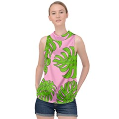 Leaves Tropical Plant Green Garden High Neck Satin Top by Alisyart