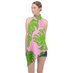 Leaves Tropical Plant Green Garden Halter Asymmetric Satin Top by Alisyart