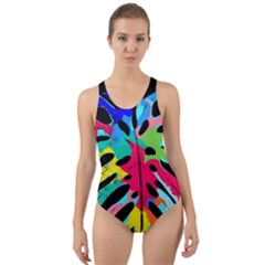 Leaf Tropical Colors Nature Leaves Cut-out Back One Piece Swimsuit