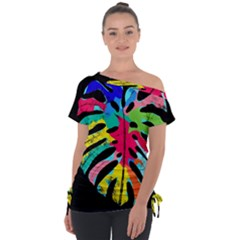 Leaf Tropical Colors Nature Leaves Tie Up Tee by Alisyart