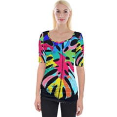 Leaf Tropical Colors Nature Leaves Wide Neckline Tee