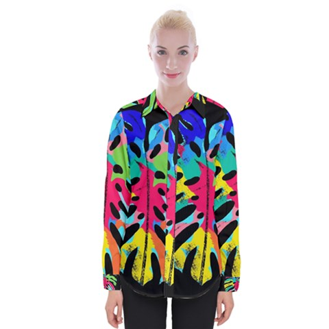 Leaf Tropical Colors Nature Leaves Womens Long Sleeve Shirt by Alisyart