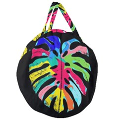 Leaf Tropical Colors Nature Leaves Giant Round Zipper Tote by Alisyart