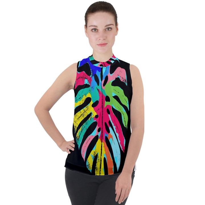Leaf Tropical Colors Nature Leaves Mock Neck Chiffon Sleeveless Top
