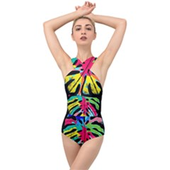 Leaf Tropical Colors Nature Leaves Cross Front Low Back Swimsuit