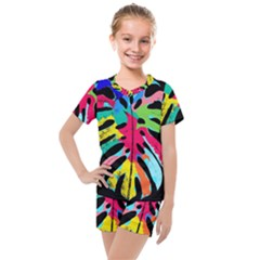 Leaf Tropical Colors Nature Leaves Kids  Mesh Tee And Shorts Set by Alisyart