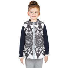 Mandala Flower Lotus Kids  Hooded Puffer Vest