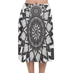 Mandala Flower Lotus Velvet Flared Midi Skirt by Alisyart