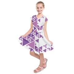 Art Purple Triangle Kids  Short Sleeve Dress by Mariart